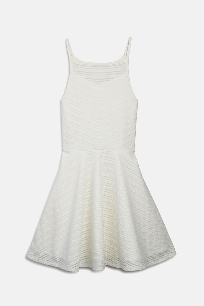 Girls Textured Lace Dress, White