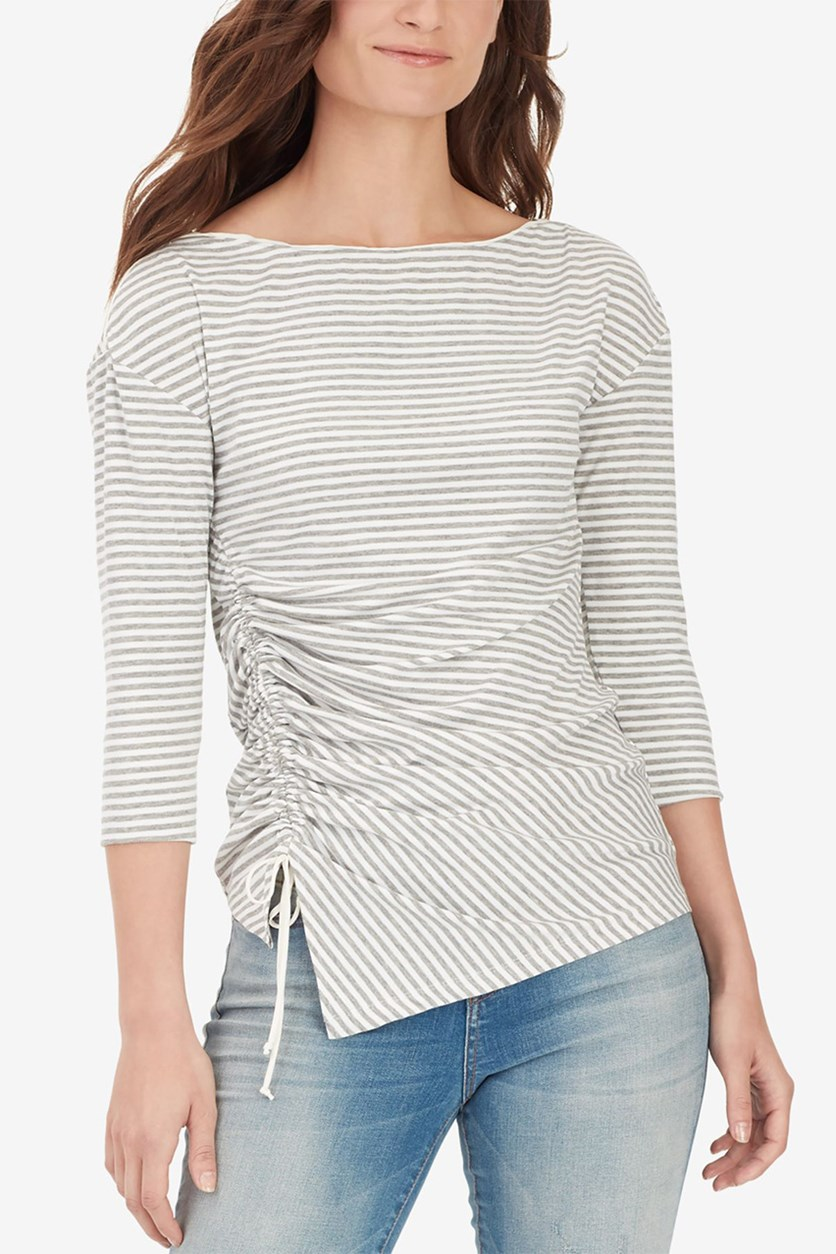 Women's Noa Ruched Striped T-Shirt, Grey/Marshmallow