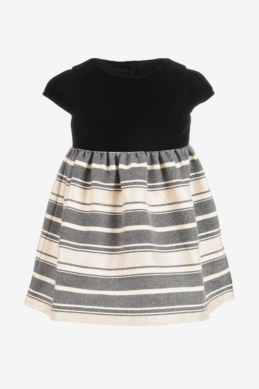 Baby Girls Velvet Metallic Dress, Deep Black