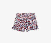 Girl's Ruffled Floral-Print Shorts, Red Combo