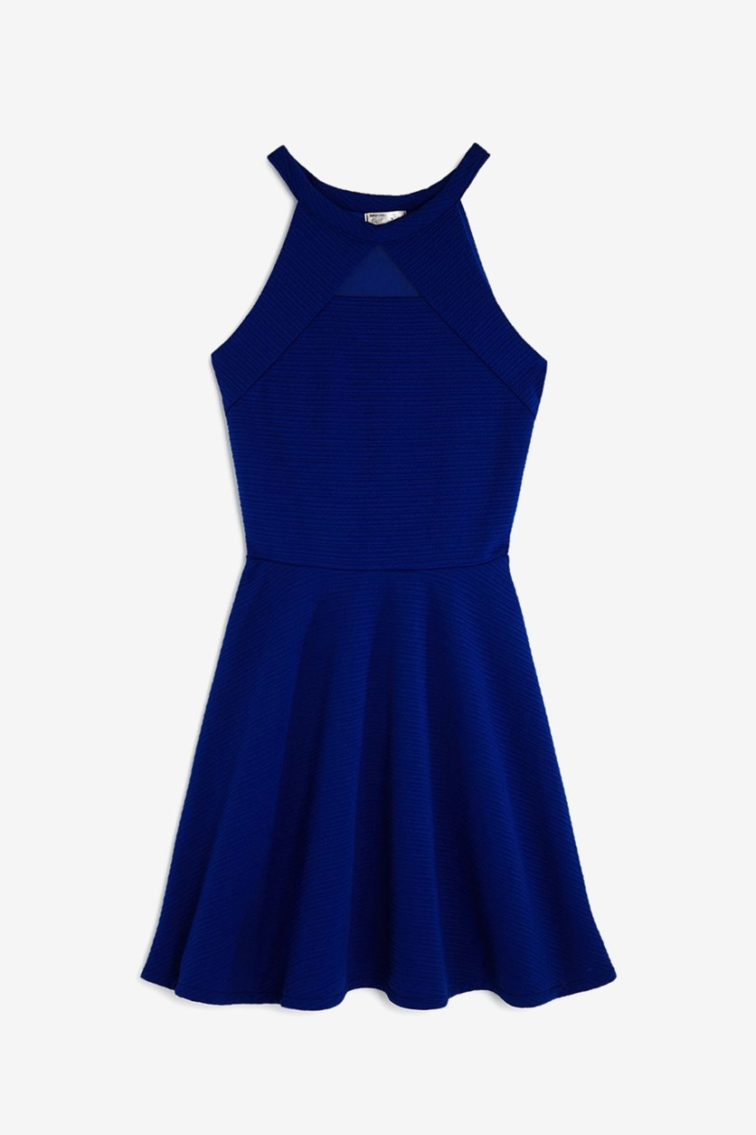 Girl's Textured Knit Mesh-Cutout Dress, Royal Blue