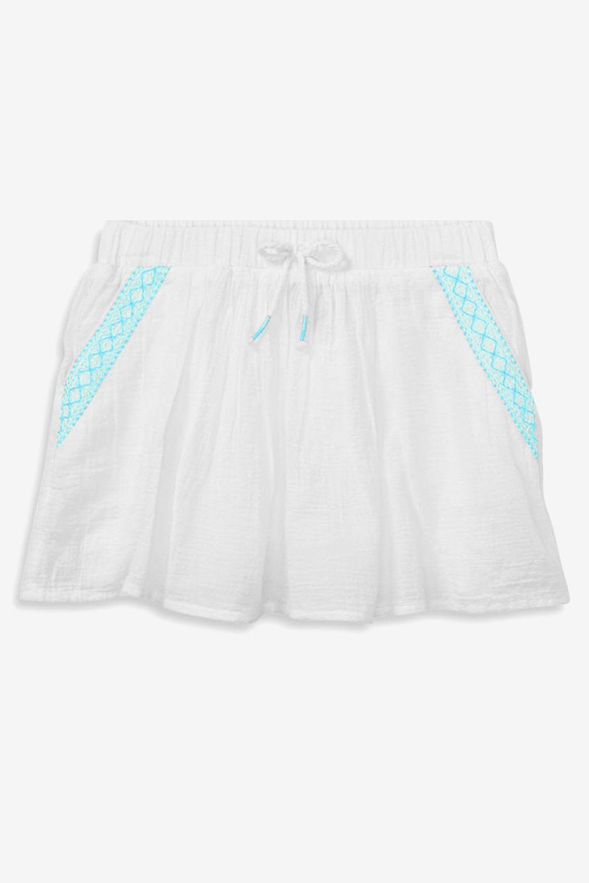 Embroidered Skirt, Whte/Teal