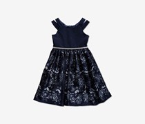 Sweet Heart Rose Little Girls Embellished Glitter Lace Dress, Navy