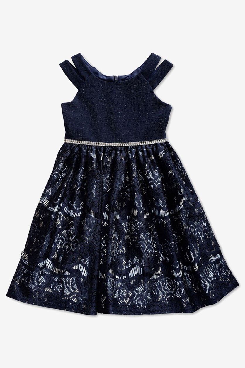 Little Girls Embellished Glitter Lace Dress, Navy