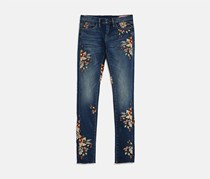 Blank Nyc Girls' Floral Embroidered Skinny Jeans, Blue