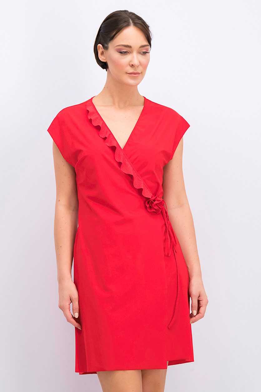 Women's Ruffle Polka Dots Robe Cover Up, Rouge Red