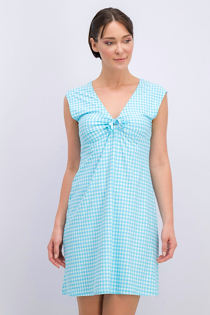 Women's Checkered Robe Dress, Blue/White