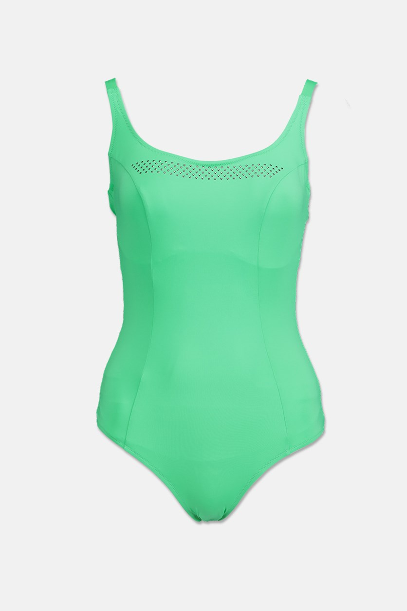 Women's Scoop Neck One Piece Swimsuit, Green