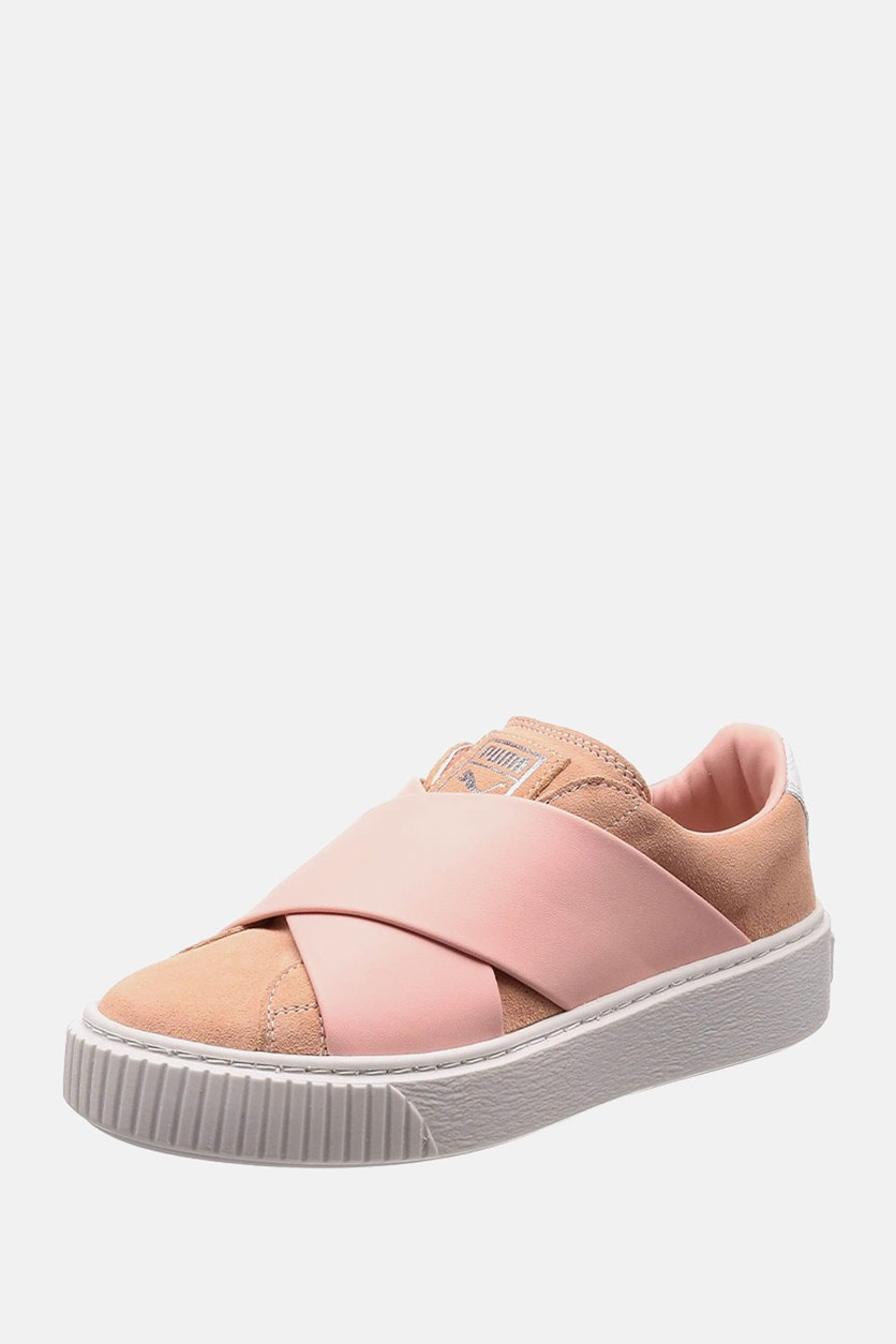 Women's Platform X Shoes, Peach/Beige