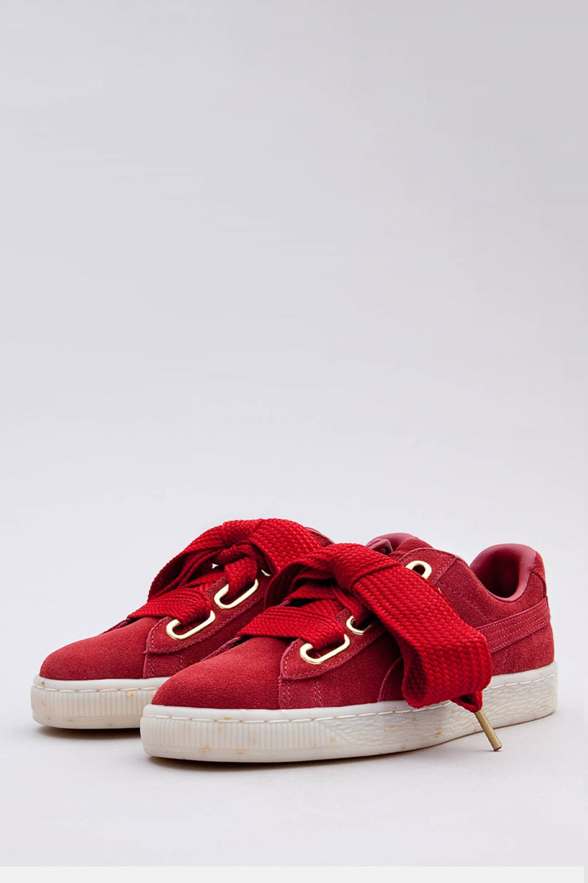 Women's Suede Heart Fabulous Sneaker, Red Dahlia