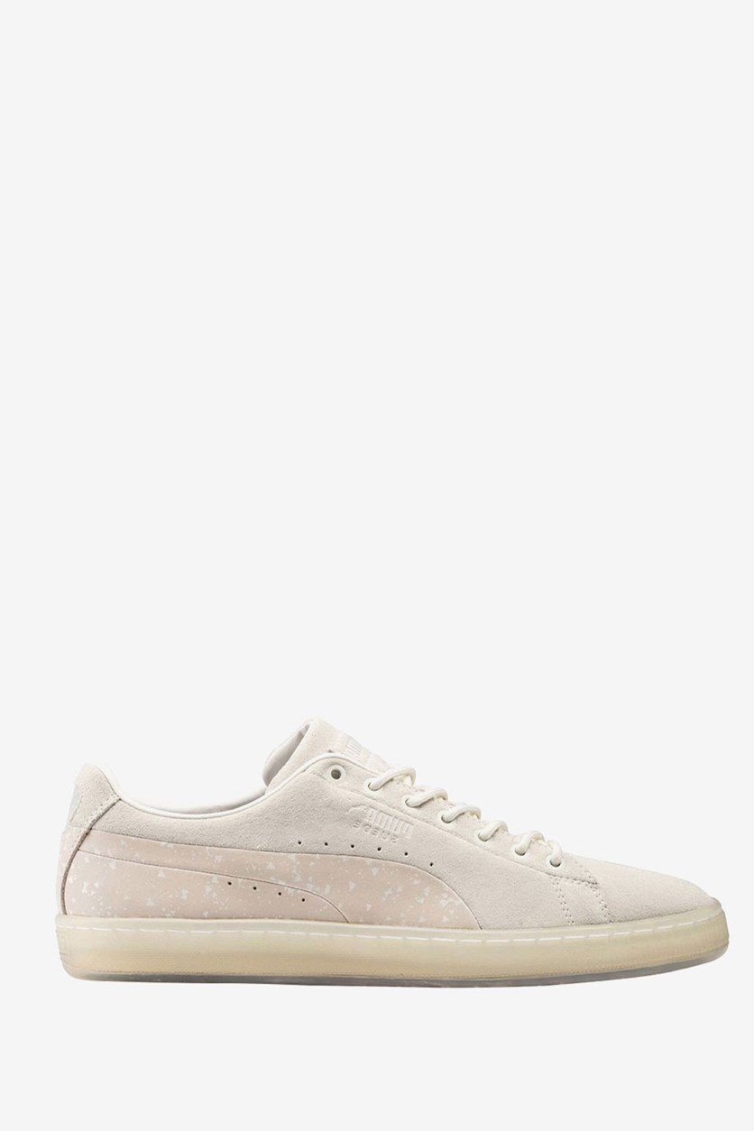 Men's Suede Naturel Sneakers, White/Almond