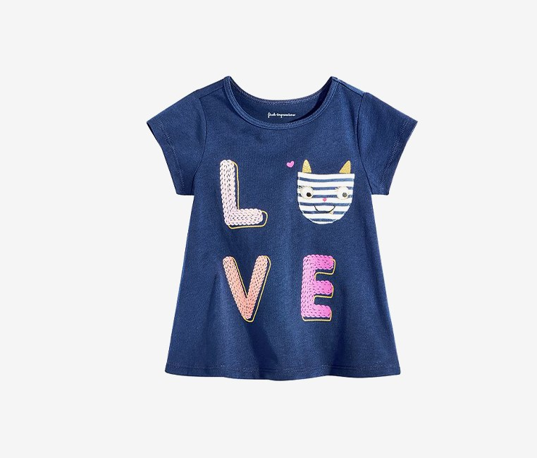 Baby Girl's Mommy & Kitty Tee, Navy