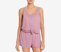 Becca by Rebecca Virtue Womens Knot-Front Scoop Neck Romper, Mauve
