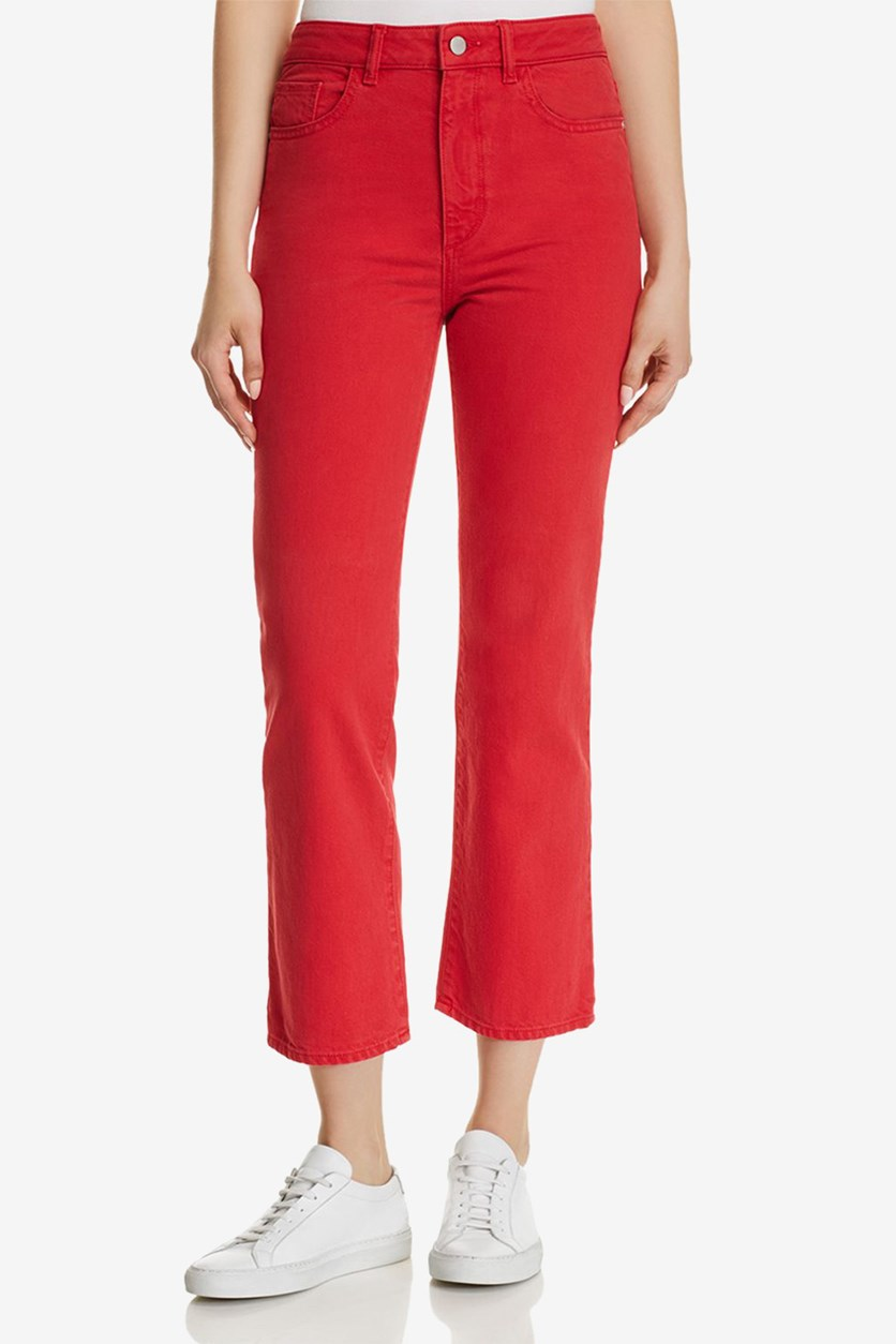 Womens Jerry High Rise Vintage Straight Jeans, Outlaw Red