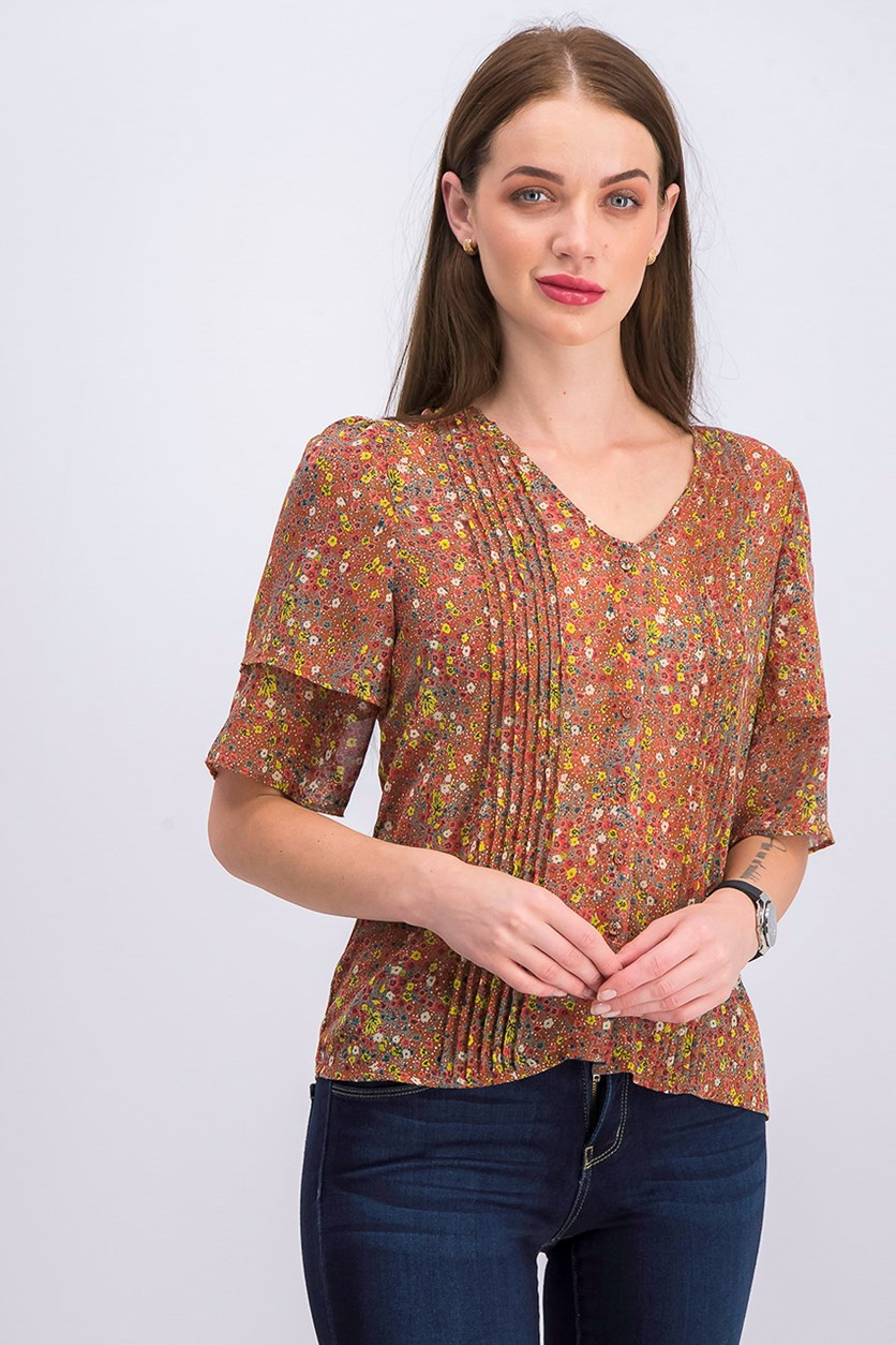 Women's Printed Top, Rust Combo