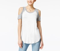 Ultra Flirt Women's Cold-Shoulder Baseball T-Shirt, White/Grey