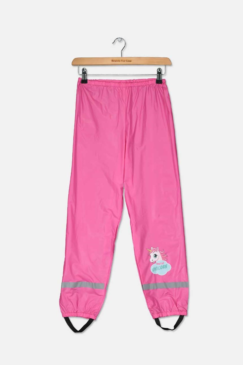 Kids Girls Unicorn Rain Pants, Pink Combo
