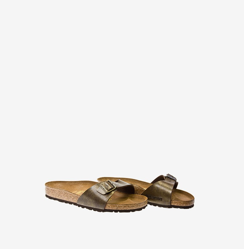 Unisex Madrid Birko Flor Sandals, Gold/Brown