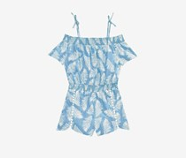 Epic Threads Little Girls Leaf-Print Romper, Blue/White