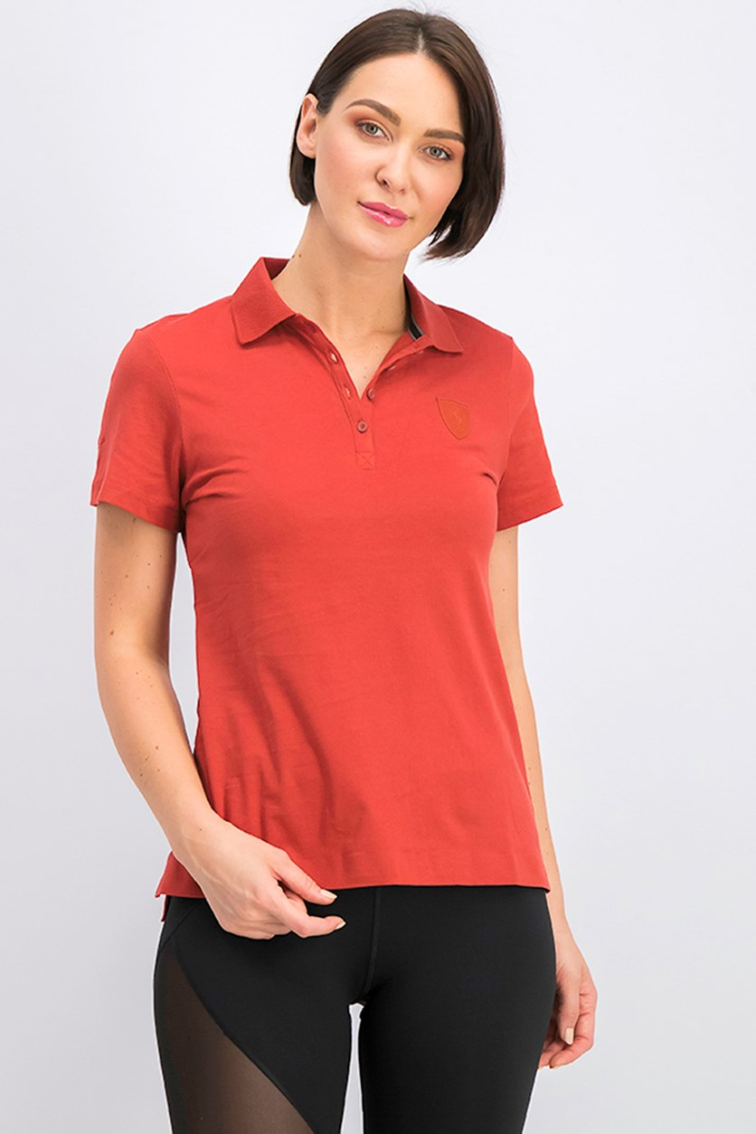 Women's Ferrari Polo, Red Orange