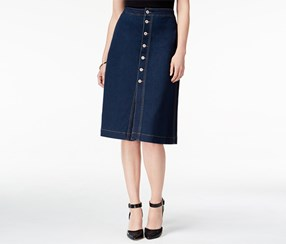 Style & Co. Women's Petite Button-Front Denim Skirt, Navy