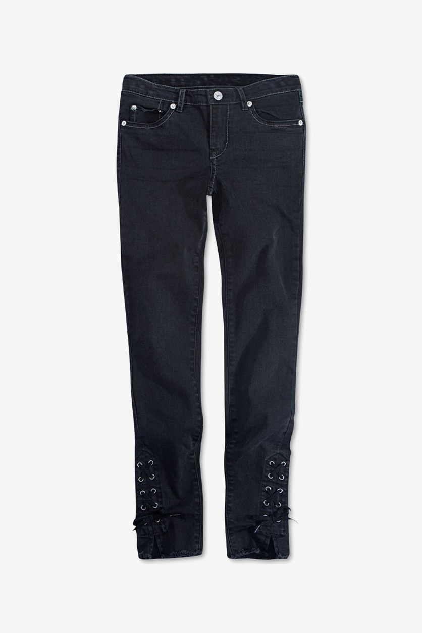 Big Girls 710 Super Skinny Lace-Up Jeans, Charcoal