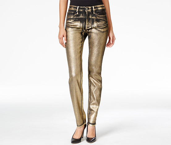 Calvin Klein Women's Ultimate Gold Metallic Skinny Jeans, Gold