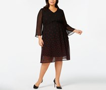 Plus Size Sheer Lined Printed Dress, Black
