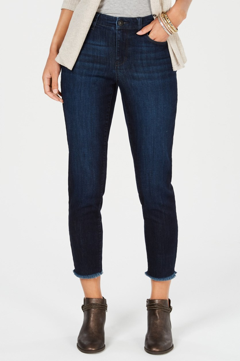 Women Skinny Frayed-Cuff Ankle Jeans, Moon