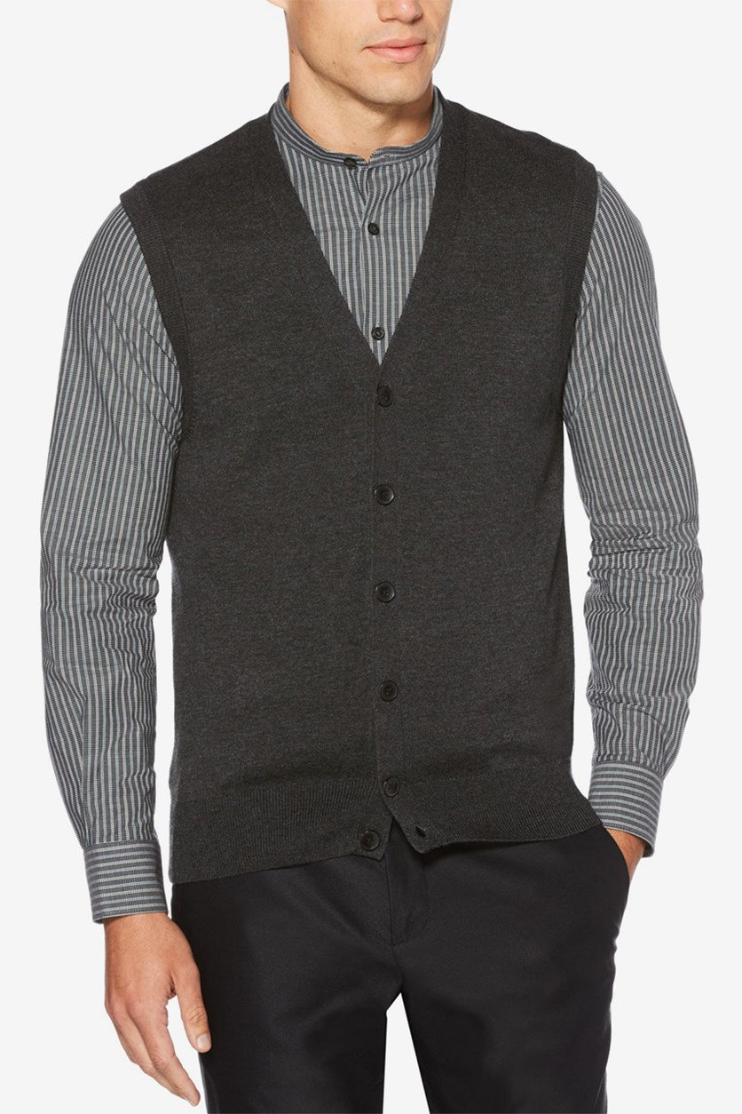 Men's Sweater Vest, Charcoal Heather