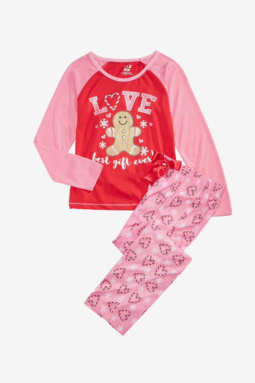 Big Girls 2-Pc. Love Pajamas Set, Red/Pink