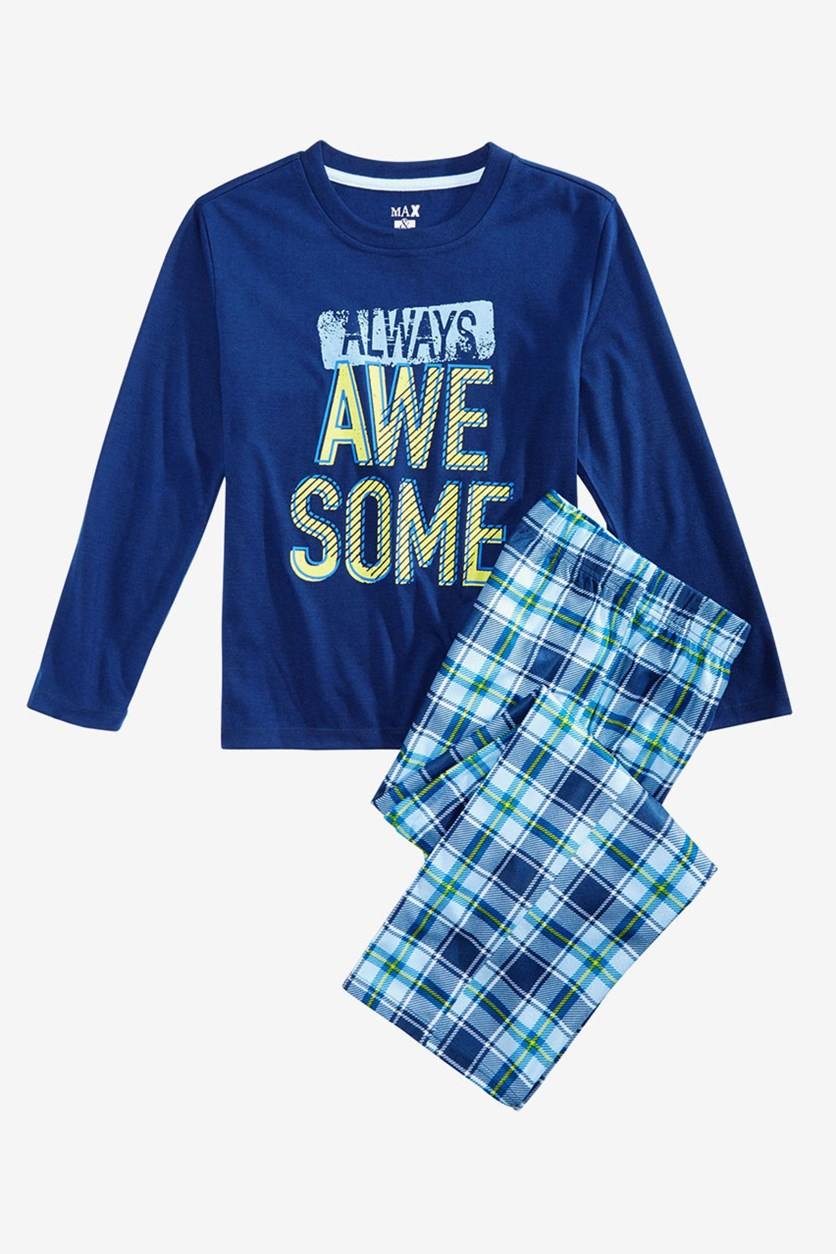Big Boys 2-Pc. Always Awesome Pajama Set, Navy Combo