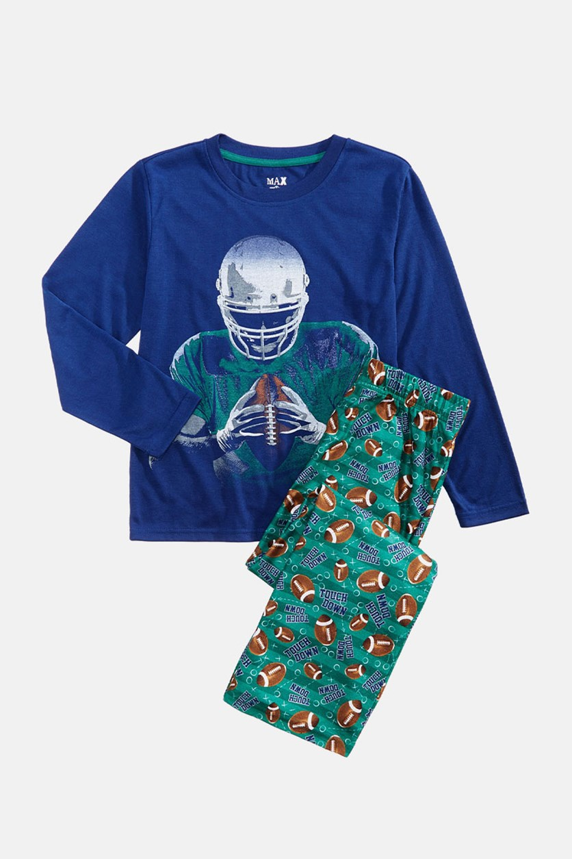 Little Big Boys 2-Pc. Football Print Pajama Set, Navy