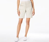Karen Scott Women's Ribbed-Waistband Bermuda Shorts, Beige