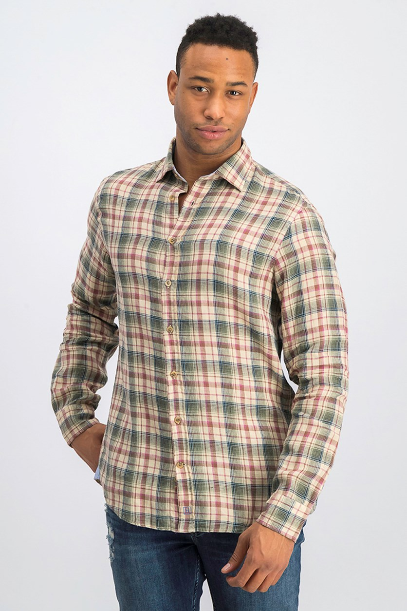 Men's Linen Plaid Shirt, Tan/Pink