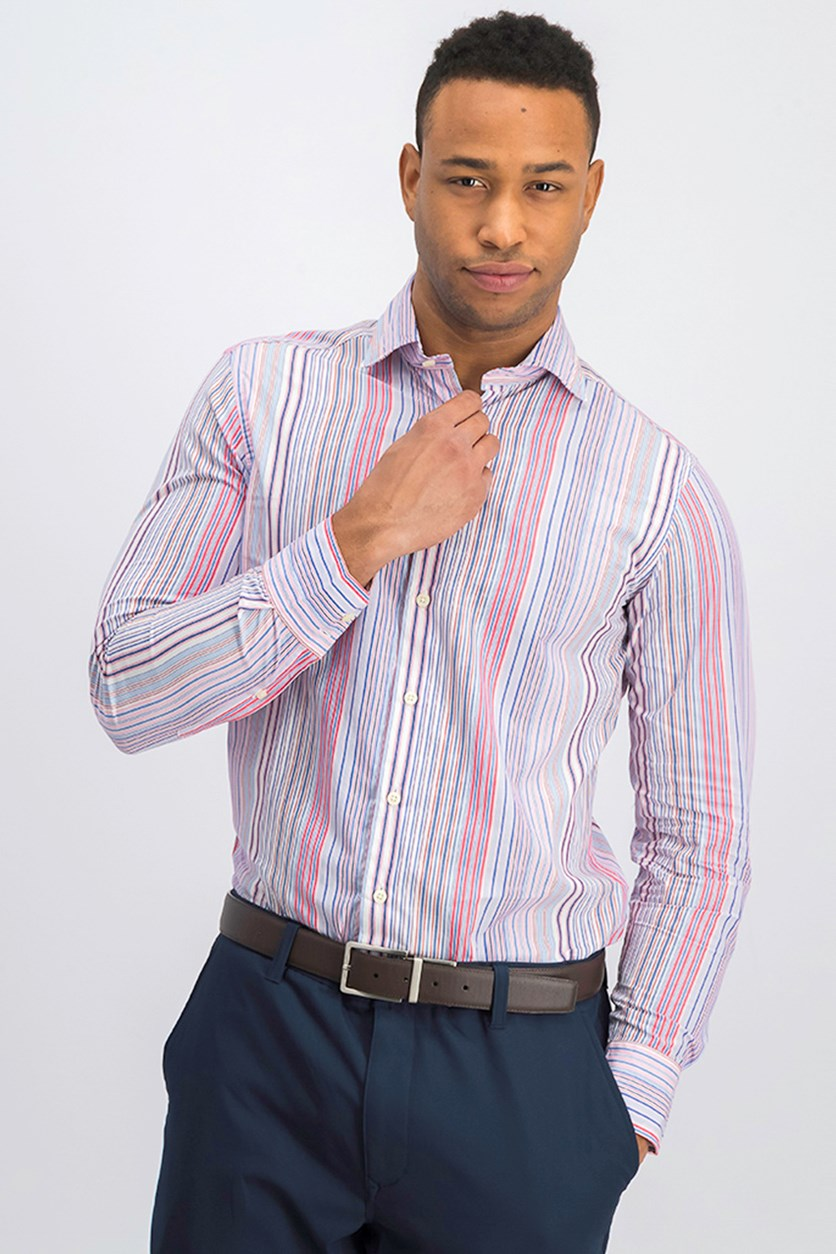 Men's Novelty Stripe J-Fit Shirt, Pink Combo