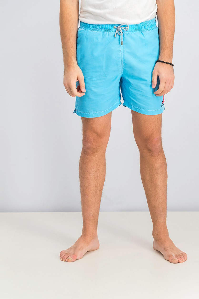 Men's Number Volley Trunks Short, Turquoise