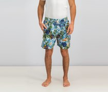 Men's Tropical Print Drawstring Board Shorts, Blue/Yellow/Green Combo