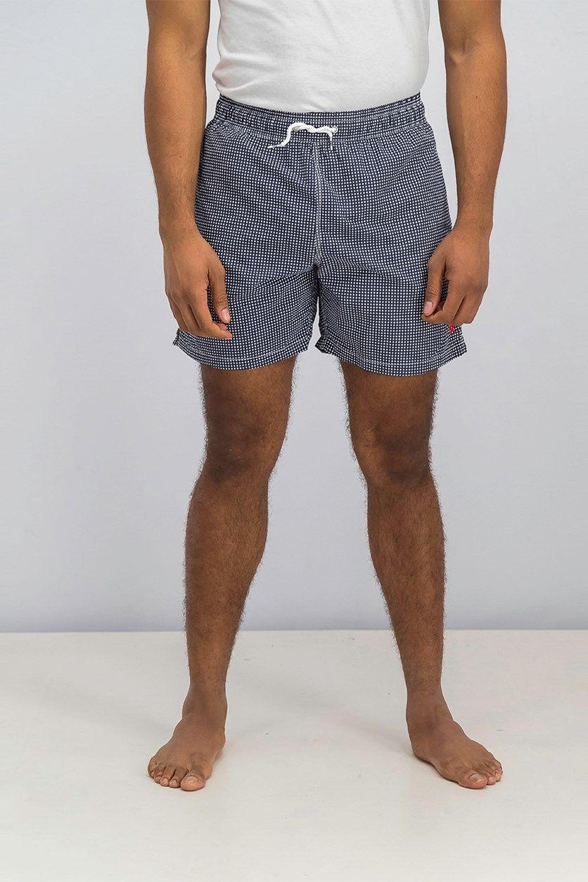 Men's Mini Gingham Pattern Drawstring Board Shorts, Navy Blue