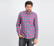 Men's Bight Check Double Face Shirt, Pink Combo