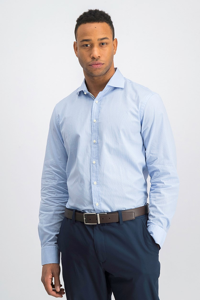 Men's Micro Gingham Shirt, Sky Blue/White