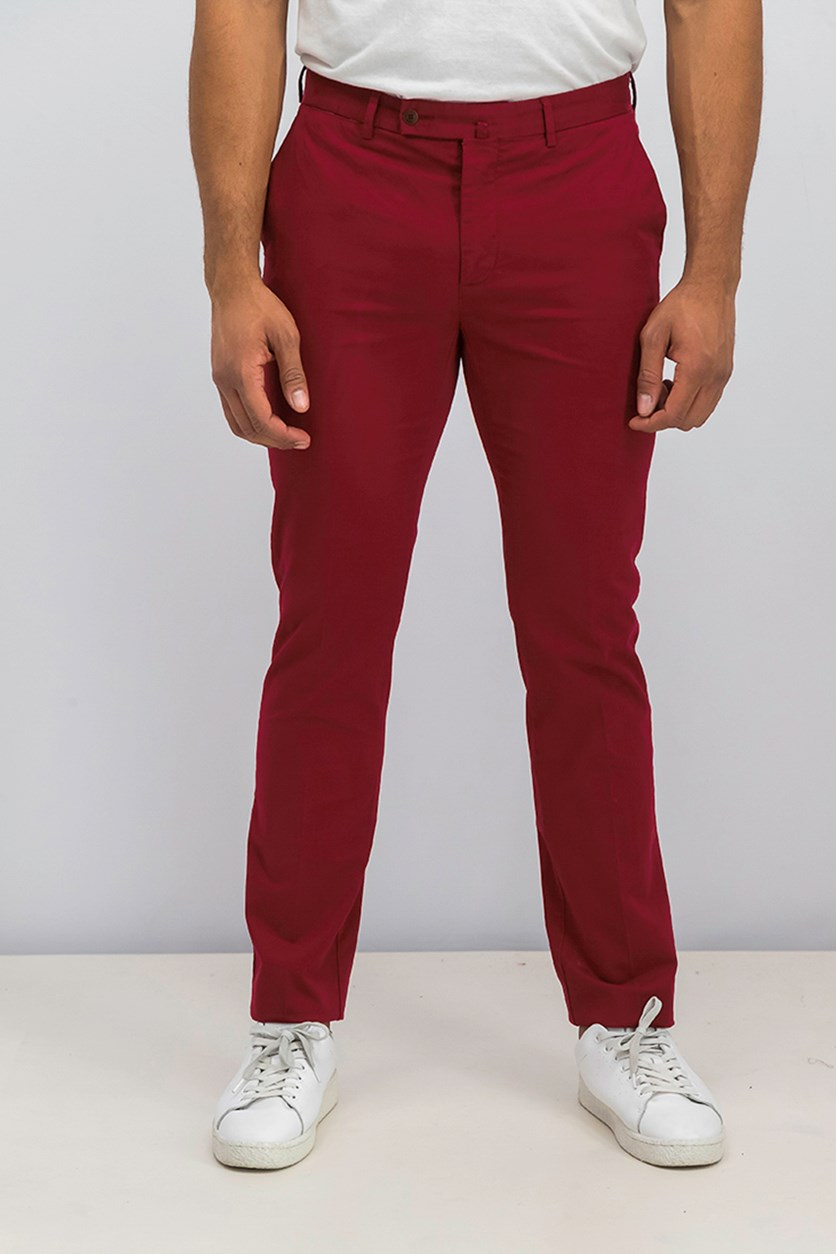 Men's Belt Loops Chino Pants, Red