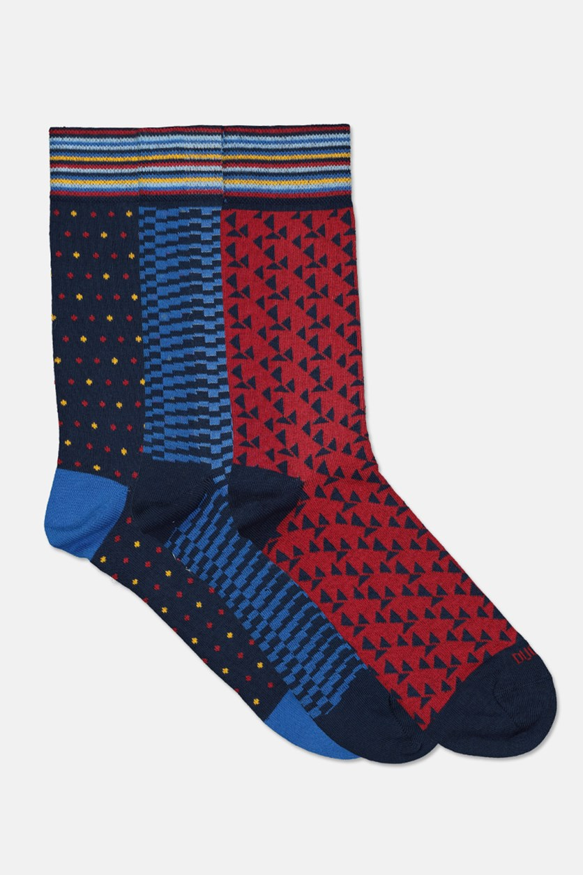 Men's 3 Pairs Sock, Blue/Navy/Red
