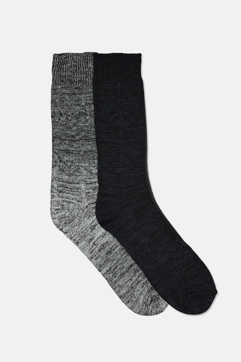 Men's Super Soft Boot Socks Set Of 2, Black/Dark Gray