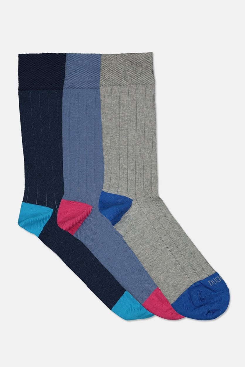 Men's Cotton Socks 3 Pairs, Blue/Navy/Grey