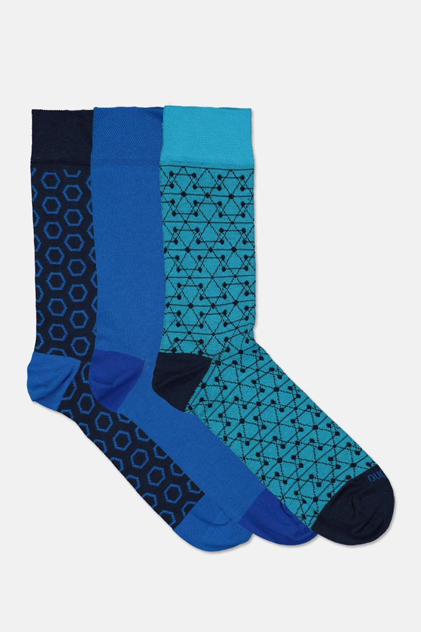 Men Egyptian Cotton 3 Pairs Socks, Navy/Blue Combo