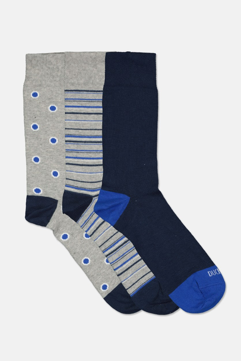 Men Egyptian Cotton 3 Pairs Socks, Grey/Navy