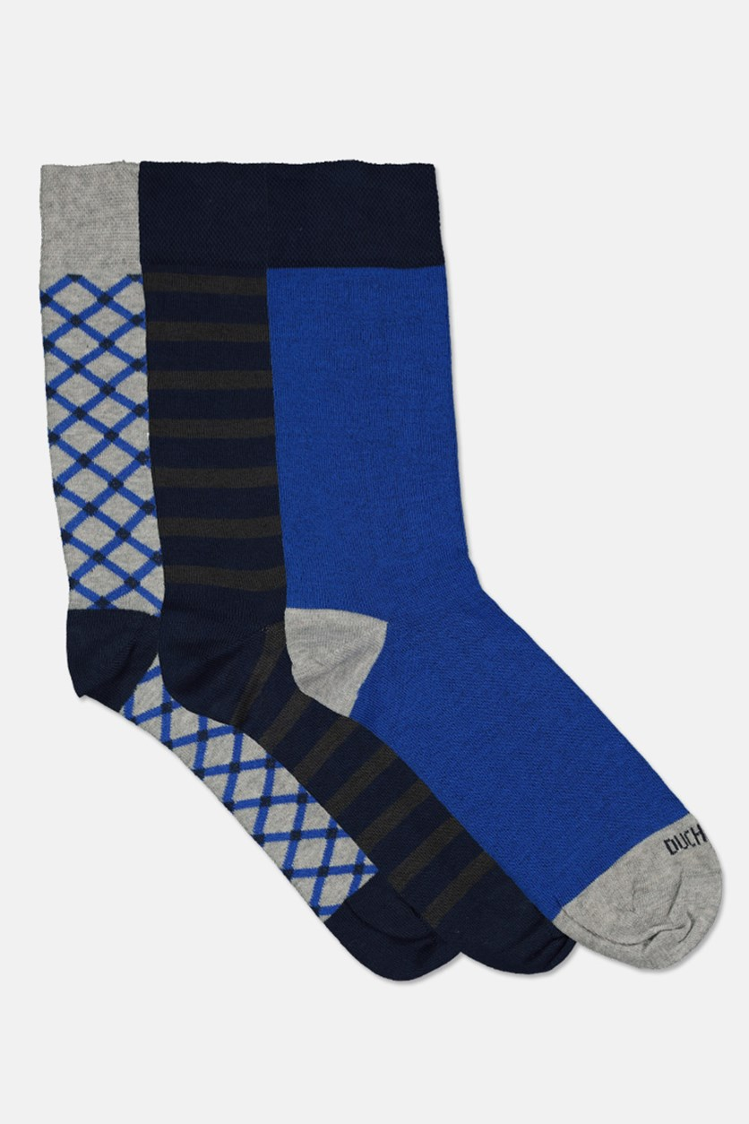 Men's Egyptian Cotton Socks, Grey/Blue/Navy