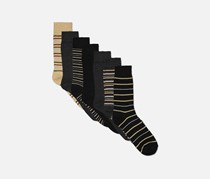 Soho Collection Men's 7 Pair Of Socks, Brown/Black/Gray