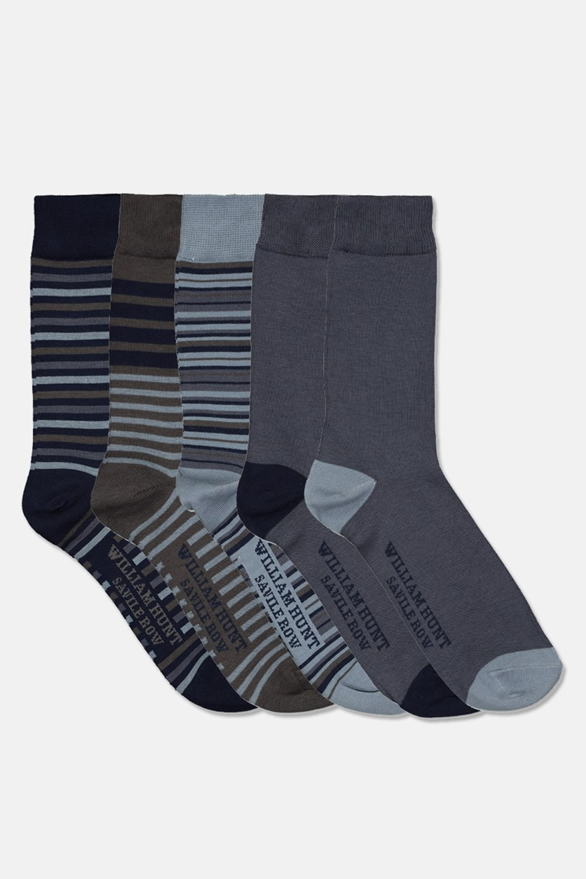 Men's Savile Row Deluxe Stiped 5 Pairs Socks, Navy Combo